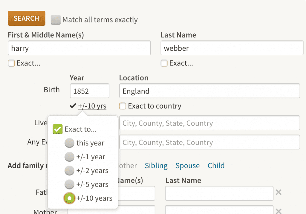 "Ancestry.com search screen with birth year specified as ""Exact =+/- 10 years"""