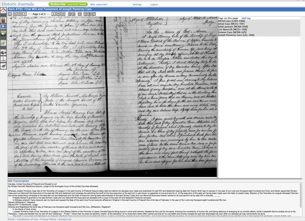 Screenshot of Historic Journals page where you view and transcribe documents and tag ancestors
