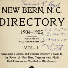 free New Bern City Directory at DigitalNC