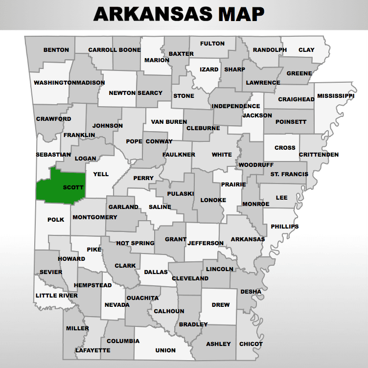 free Scott County Arkansas map and records at OnGenealogy.com