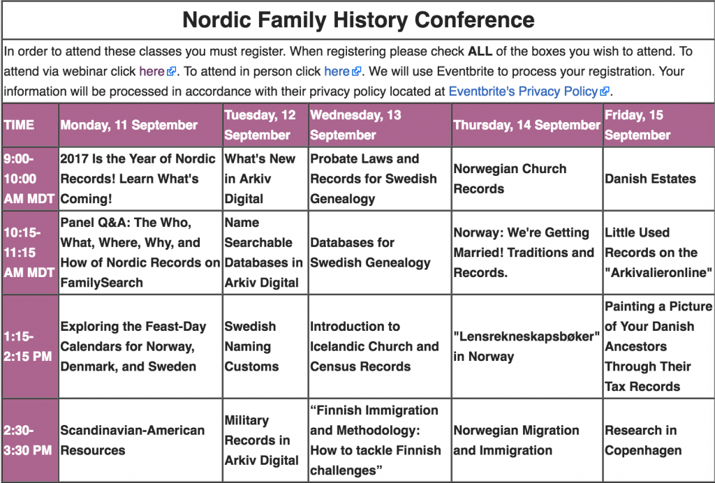 Nordic Family History Conference 2017 schedule
