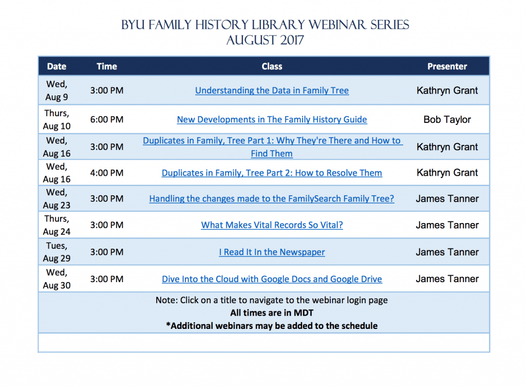 BYU Family History Library free genealogy webinars in August 2017