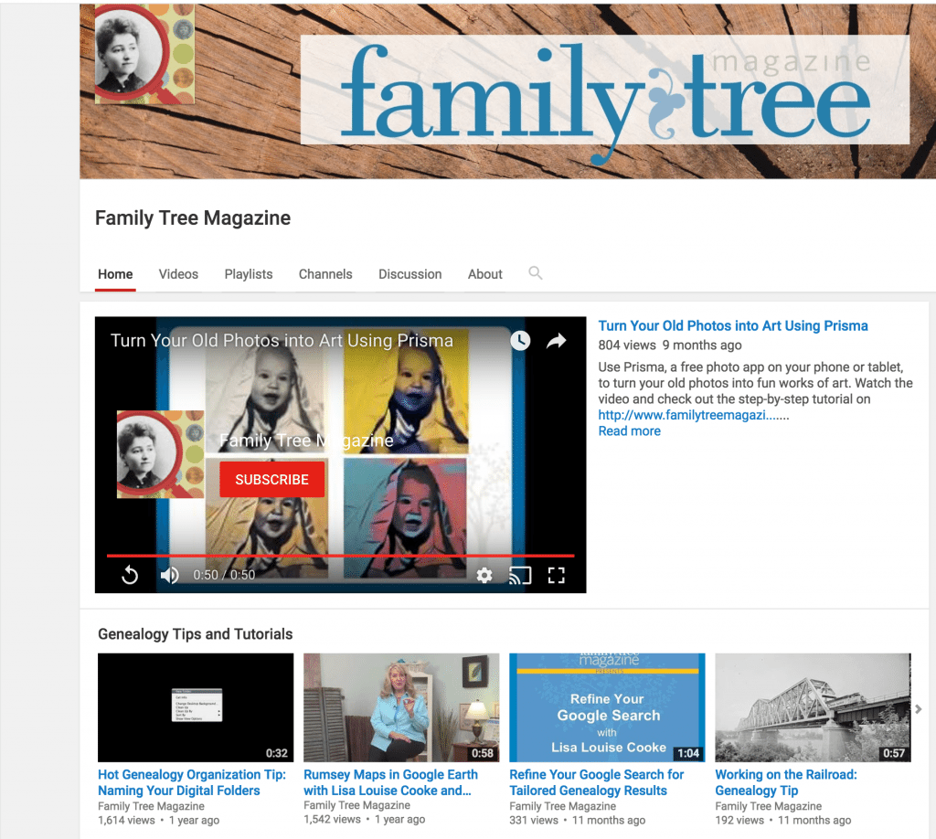 Family Tree Magazine YouTube channel for free genealogy videos