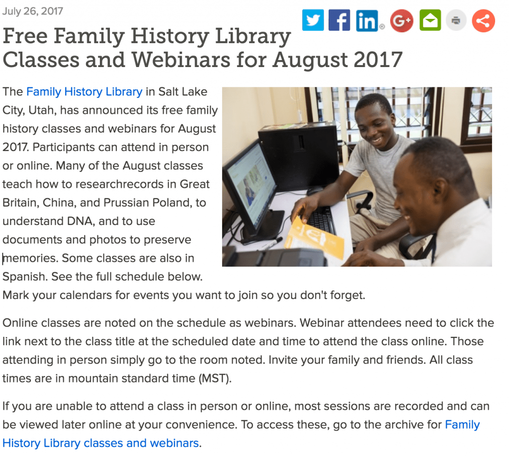 Free FamilySearch webinars August 2017