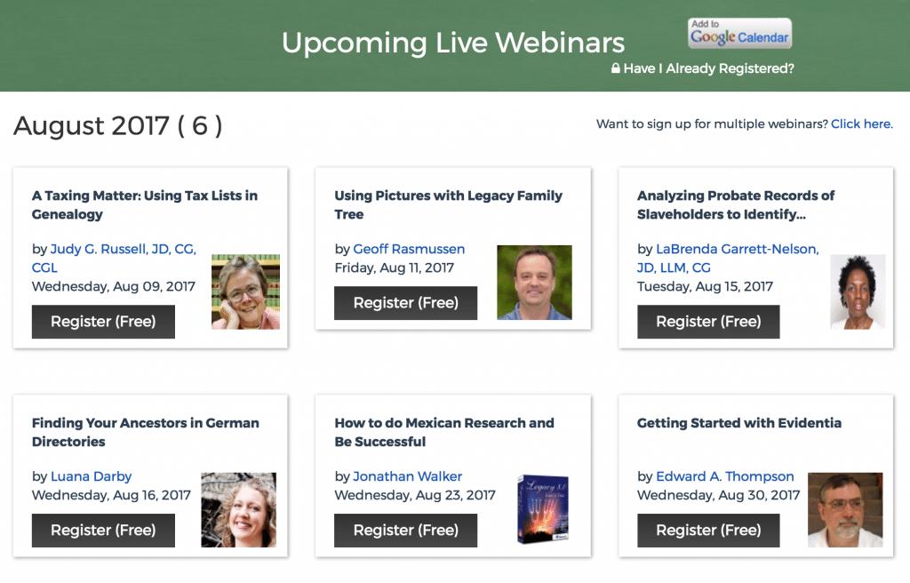 Free Legacy Family Tree Webinars