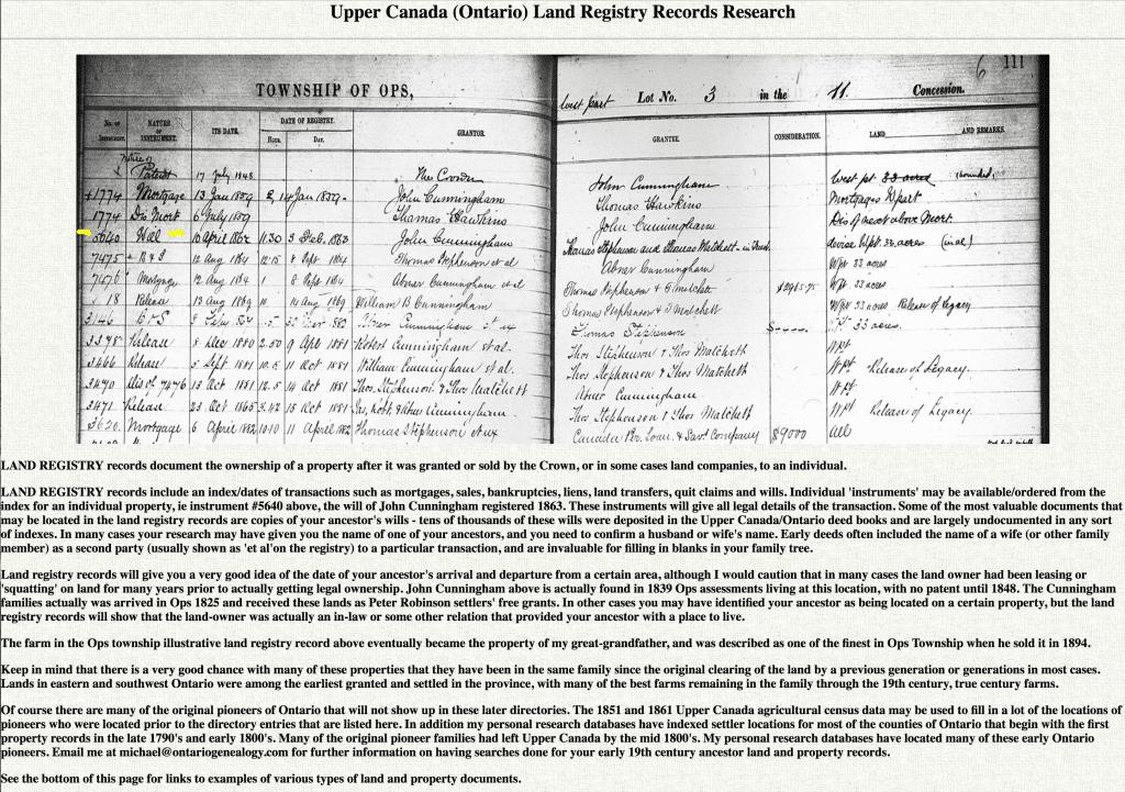 OntarioGenealogy.com free Pioneer genealogy database online