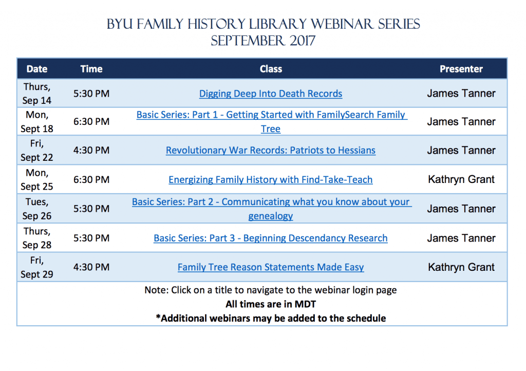 BYU Family History Library Webinar Series