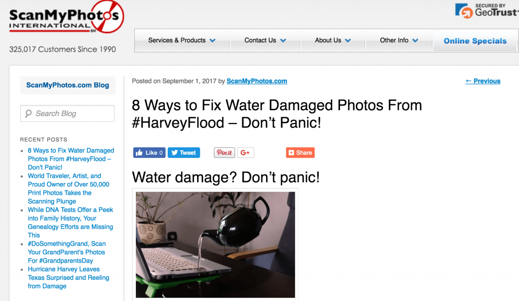 Tips for water damaged photos Hurricane Harvey