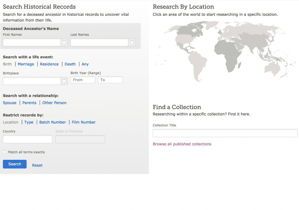 FamilySearch Search Records free