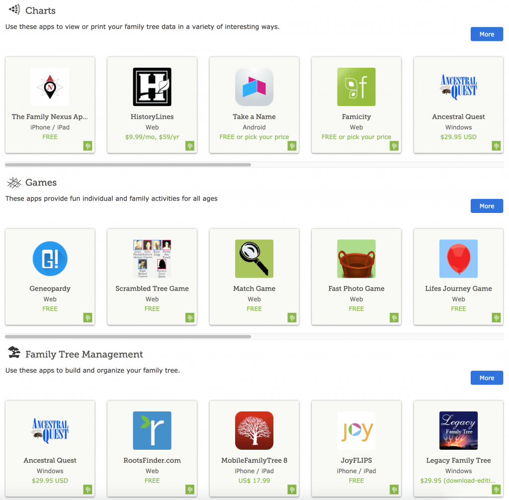 FamilySearch related apps