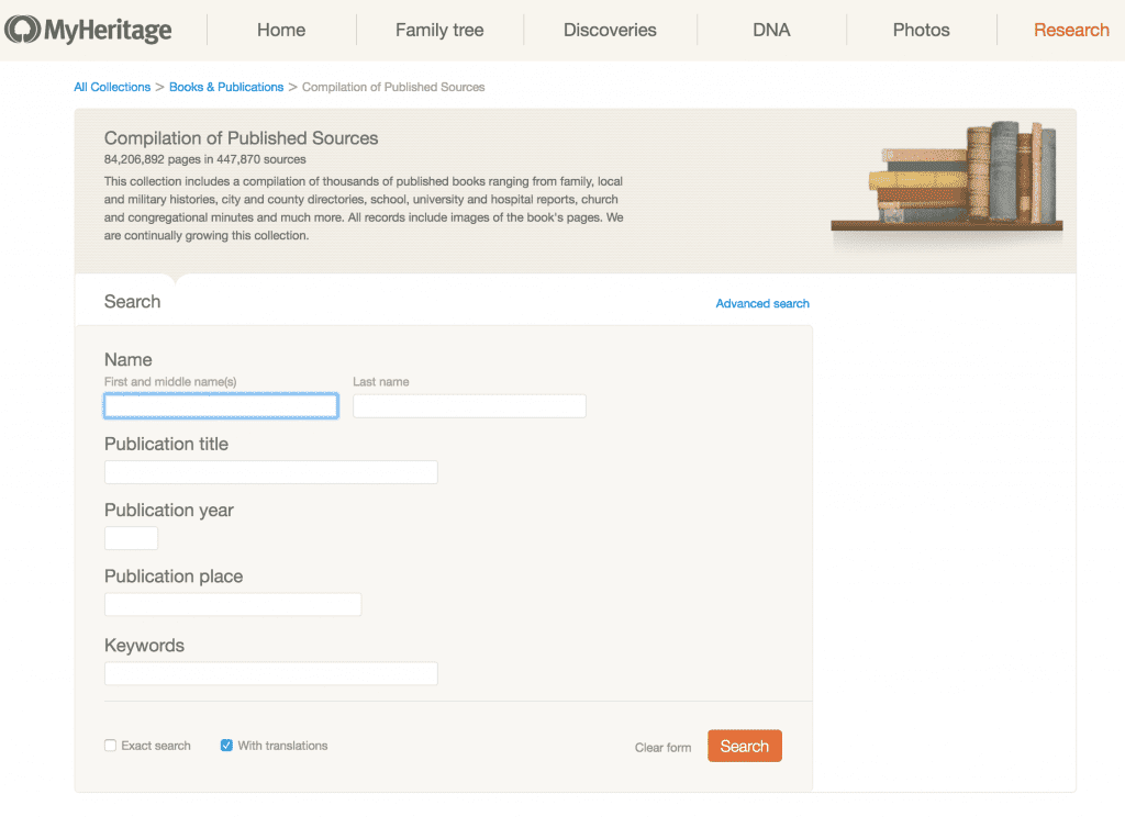 Free MyHeritage book searches