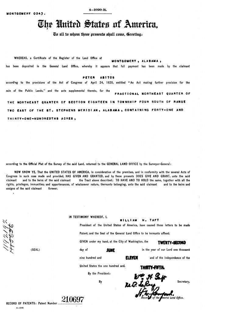 Land Patent records