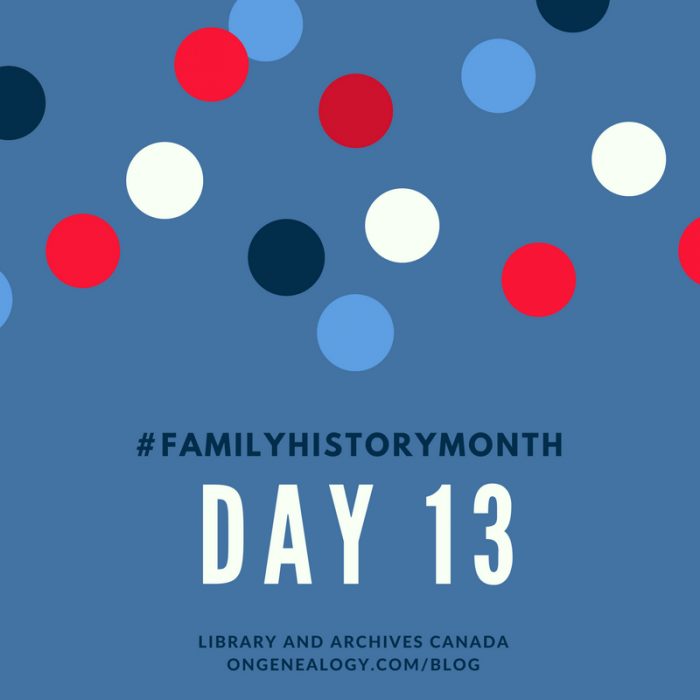 Library and Archives Canada OnGenealogy Family History Month
