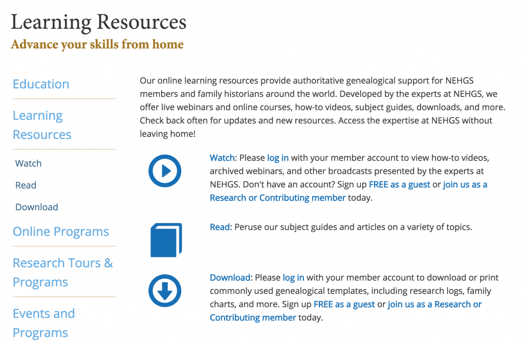 NEHGS Online Learning Resources