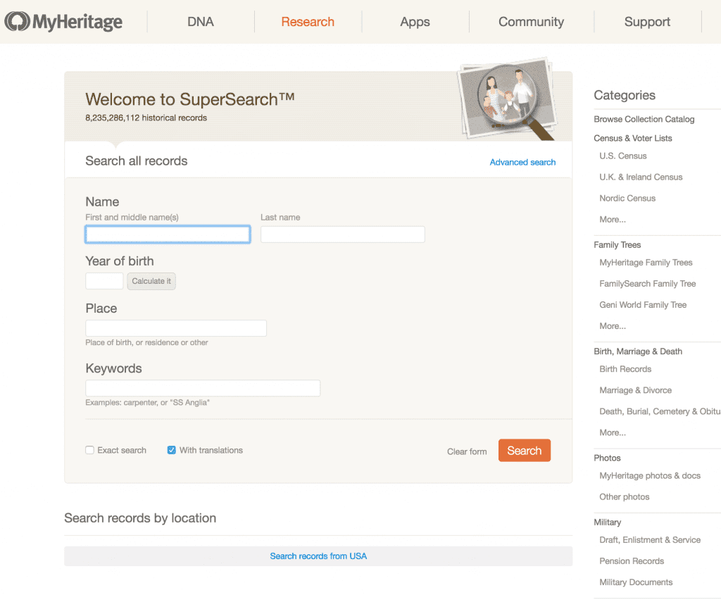 free SuperSearch at MyHeritage
