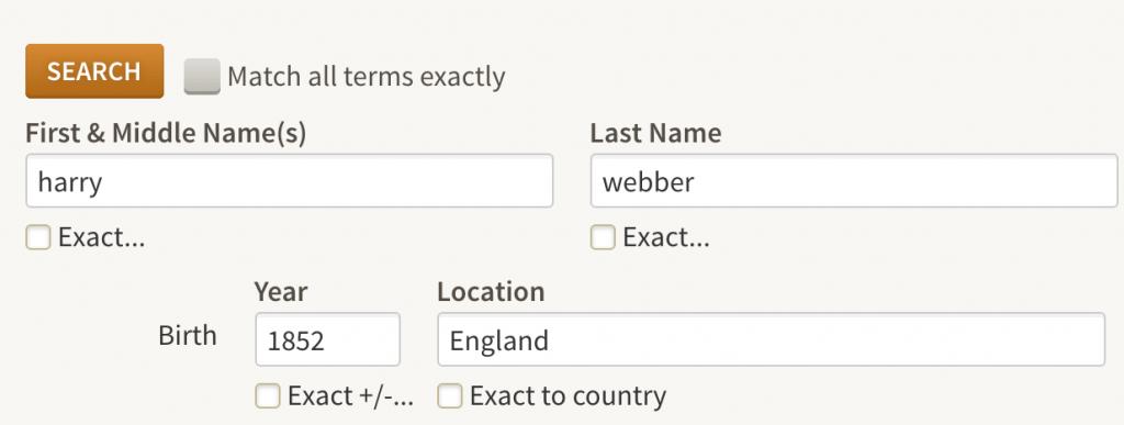 Ancestry.com search screen