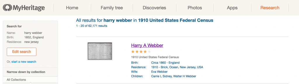 MyHeritage accurate search results