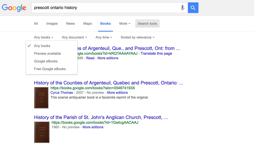 Google Books enhanced search results