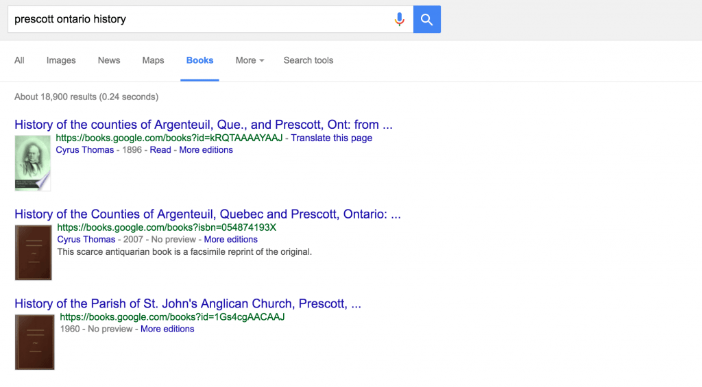 Google Books initial search results