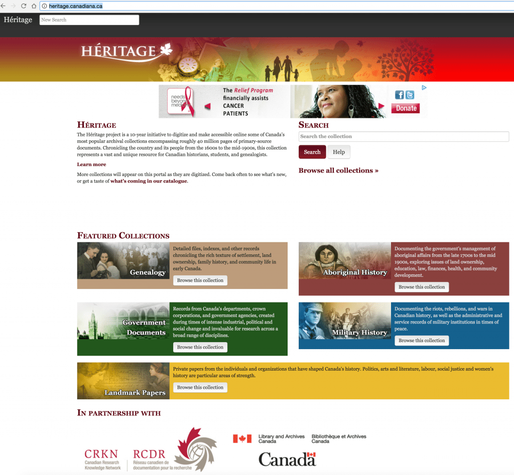 Heritage for free Canadian Genealogy