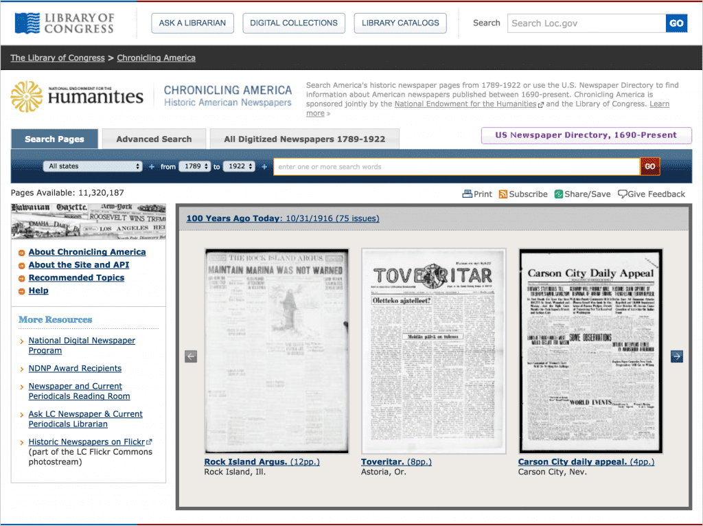 Library of Congress free newspapers