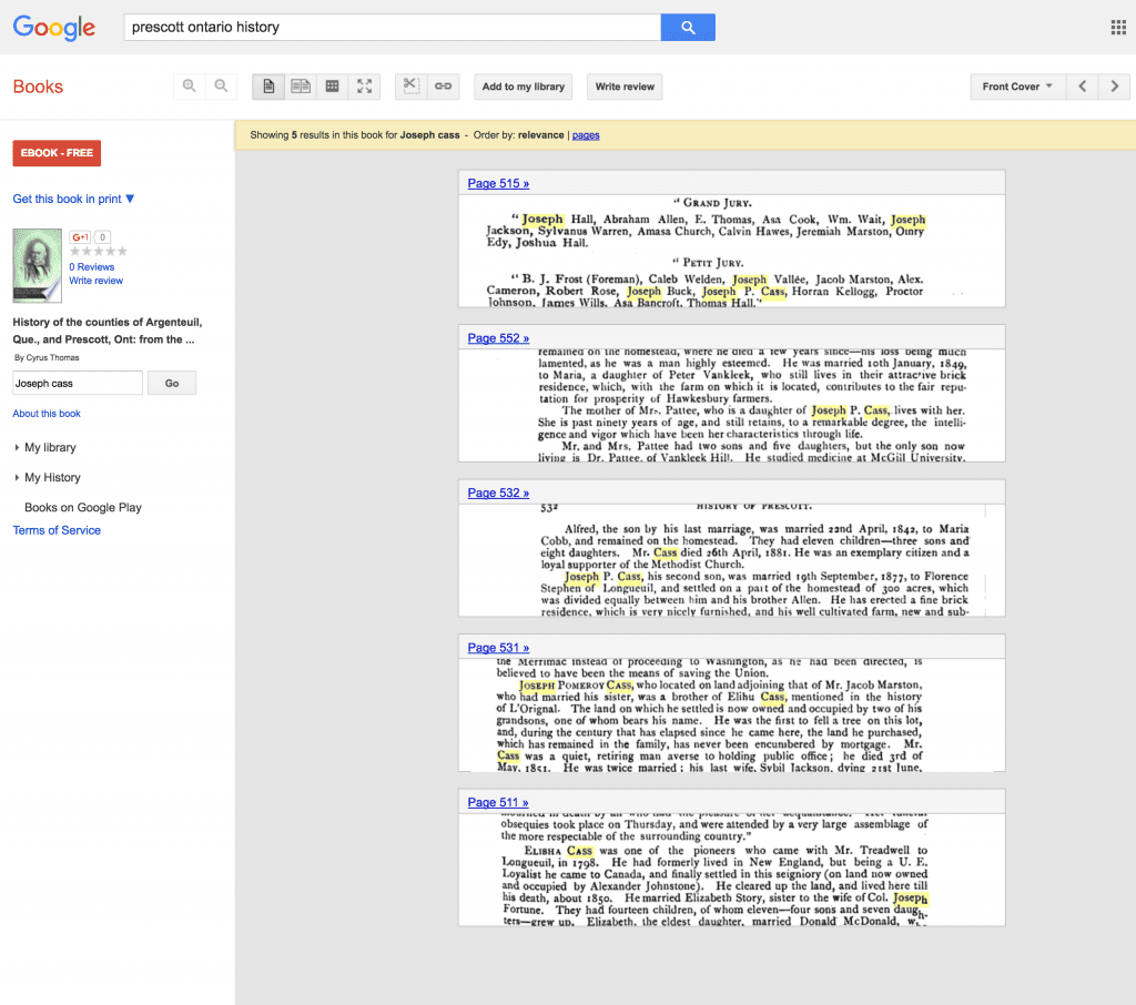 Specific pages where I find an ancestor in a Google Book