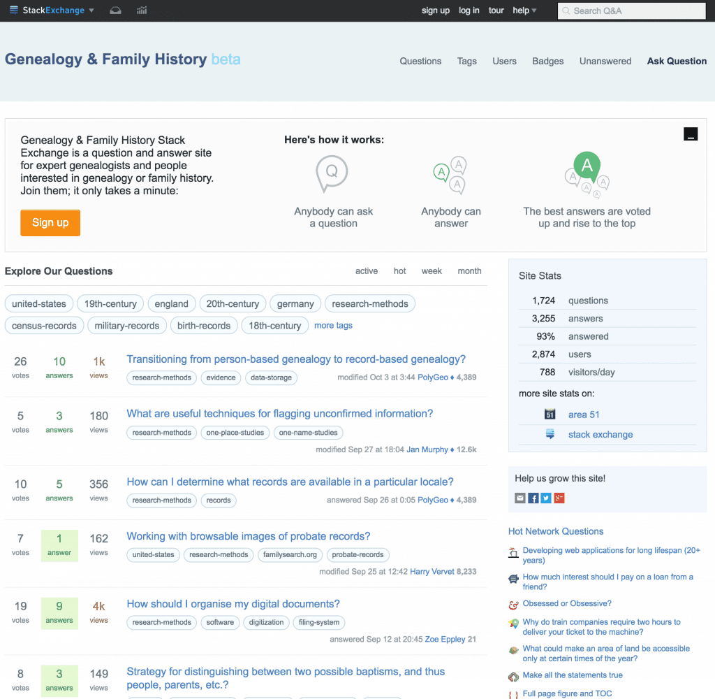 Stack Exchange for Genealogy and Family History