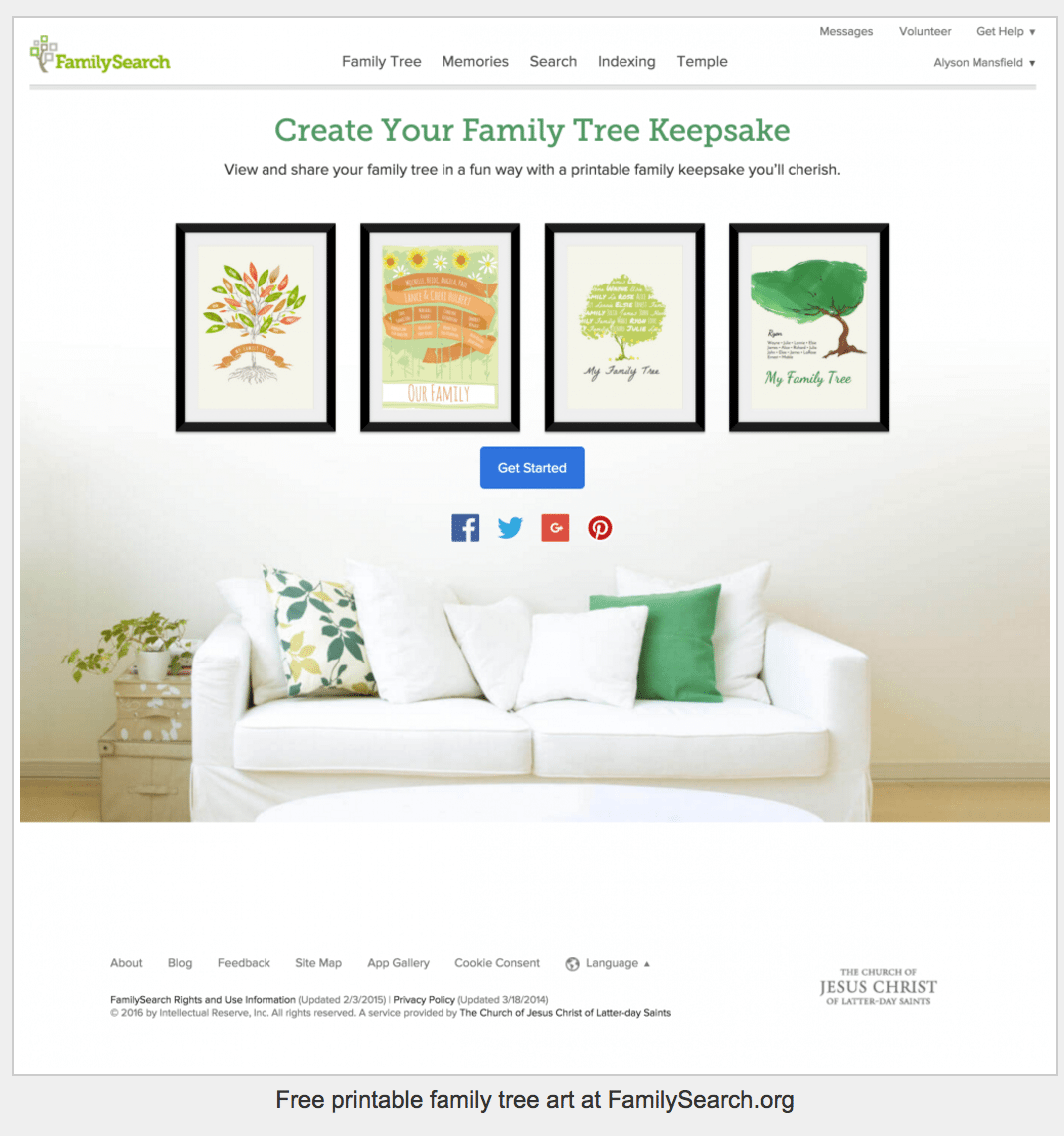 FamilySearch keepsakes free family tree art