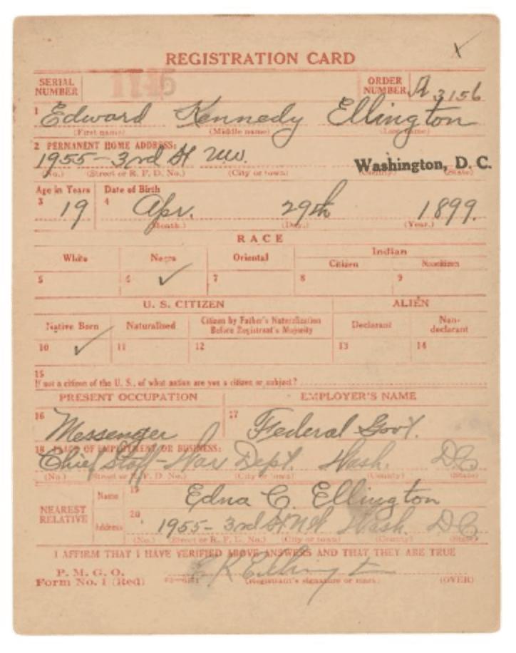 Draft Registration Card for Edward Kennedy Ellington, courtesy National Archives