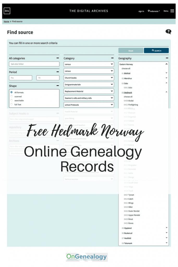 Free Hedmark Online Genealogy records at DigitalArkivet OnGenealogy listings