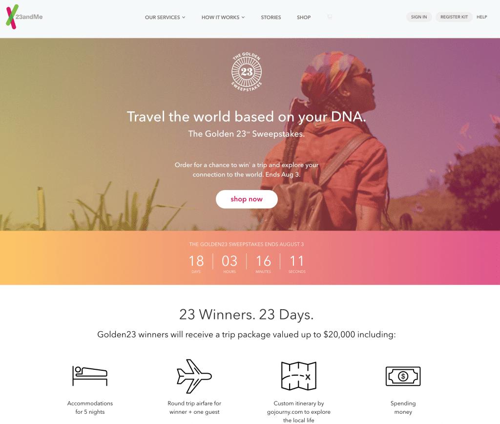 23andMe World travel sweepstakes at OnGenealogy