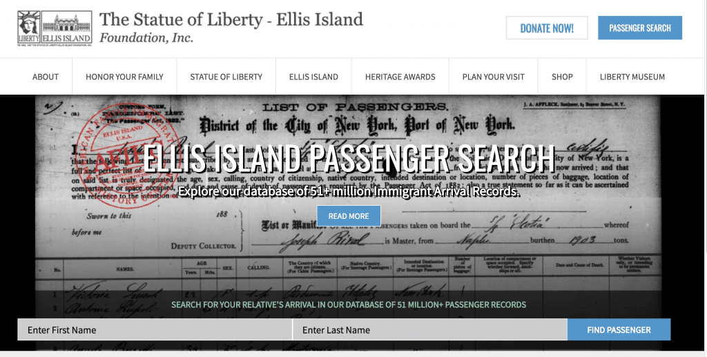 Ellis Island Passenger Search immigration records free