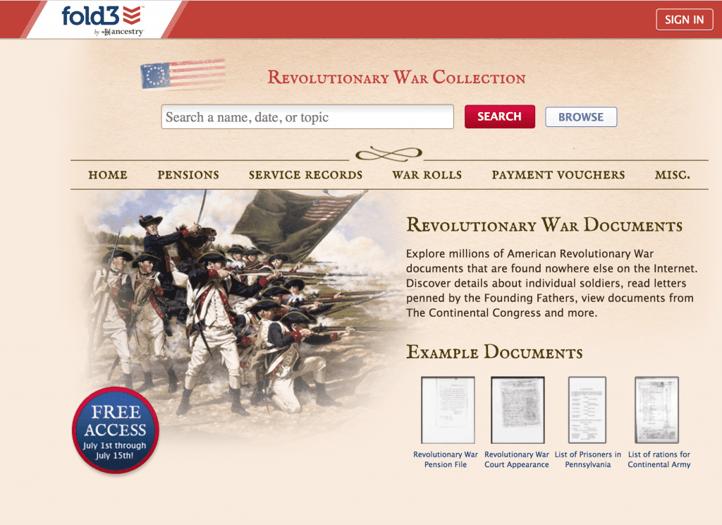 Free Revolutionary War records access at Fold3