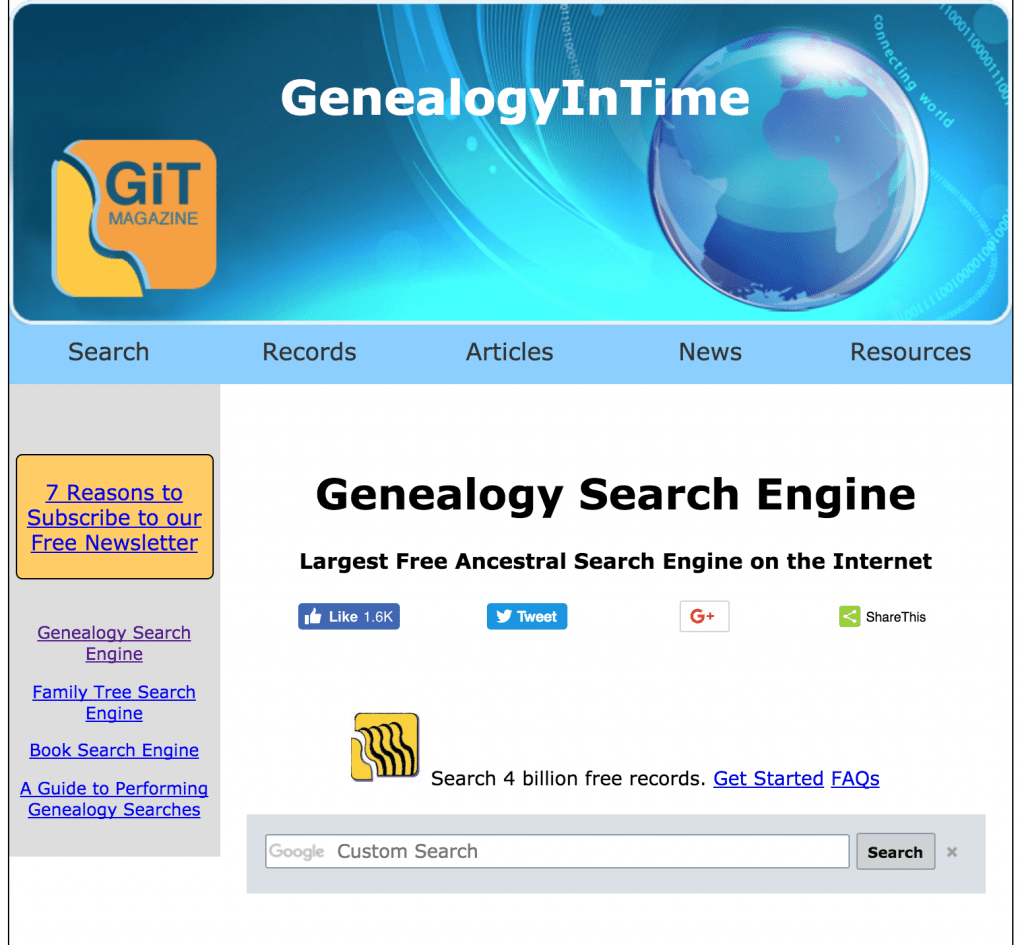 GenealogyInTime free genealogy search engine