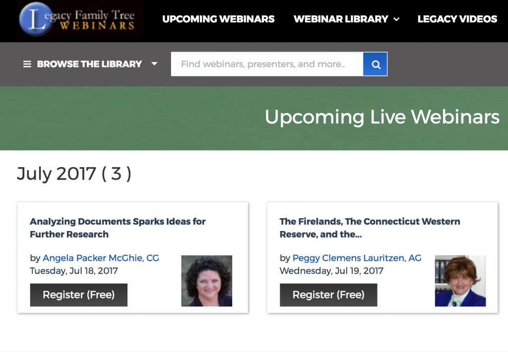 Legacy Family Tree free Webinars at OnGenealogy
