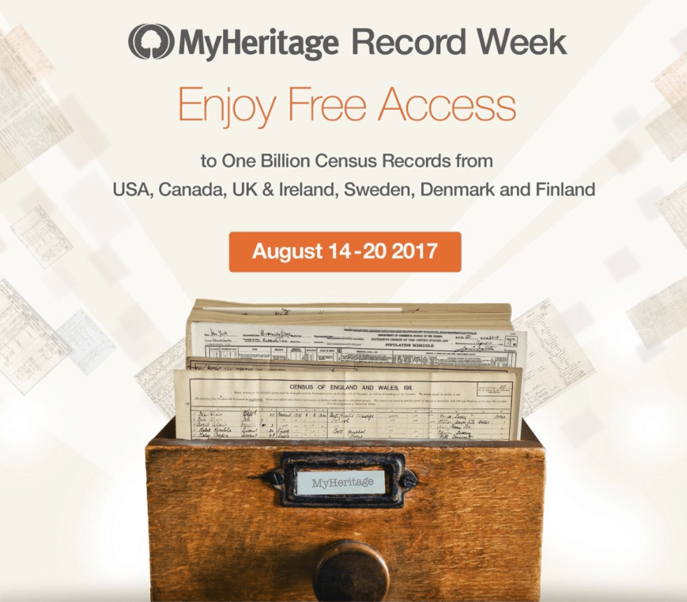 MyHeritage Free Census Records August 2017