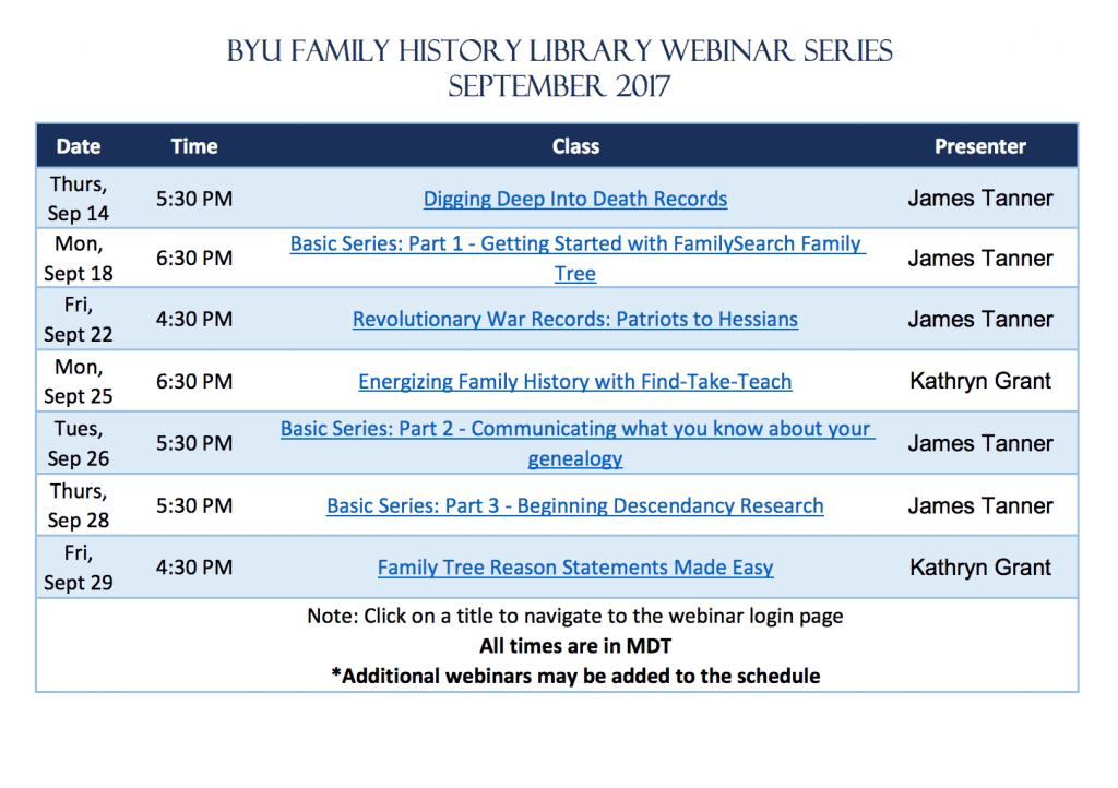BYU Family History Library Webinar Series