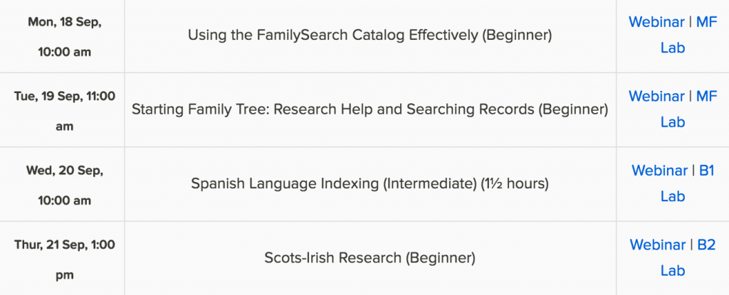 FamilySearch free genealogy webinars