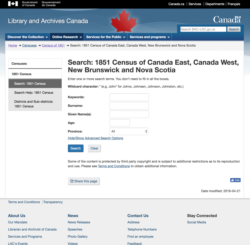 1851 Census Search page