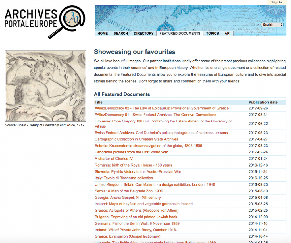 Archives Portal Europe Featured Documents