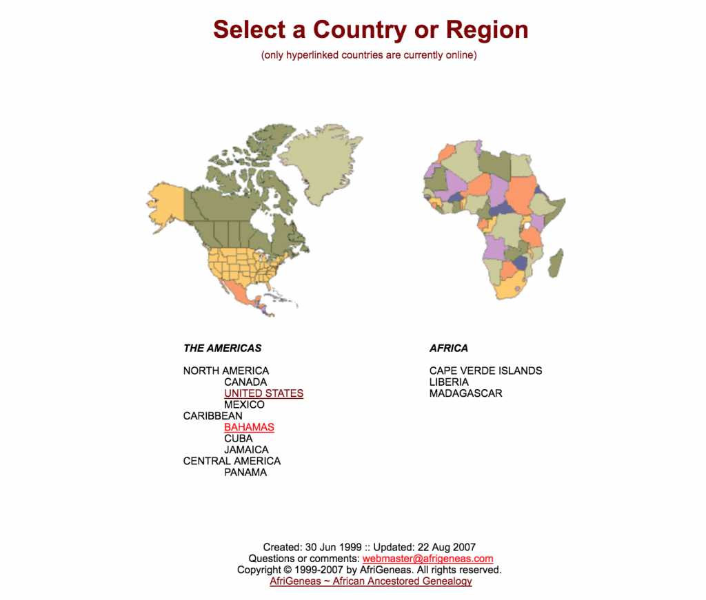 Country resources at AfriGeneas