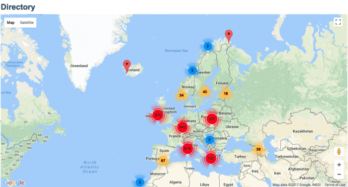 Directory map at Archives Portal Europe