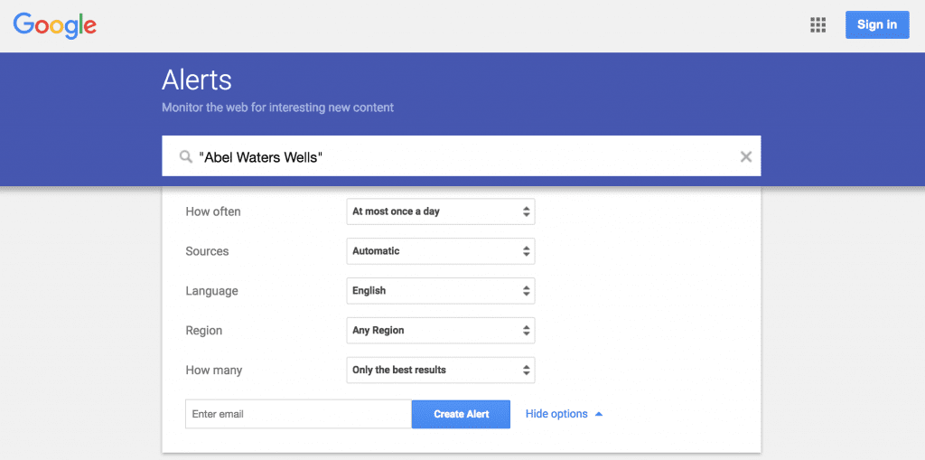Enter any email where Google Alerts should be sent