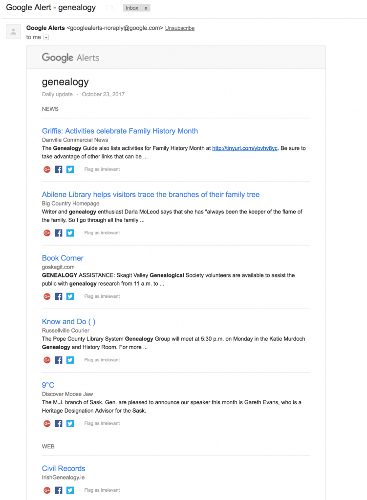 Google Alert for Genealogy