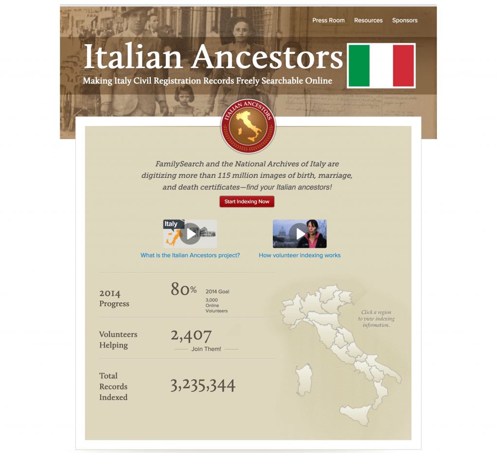 Italian Ancestors project at FamilySearch