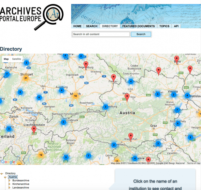 Select an Archive in Austria with the map feature