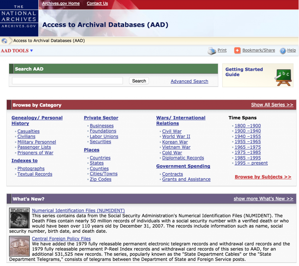 The National Archives online databases