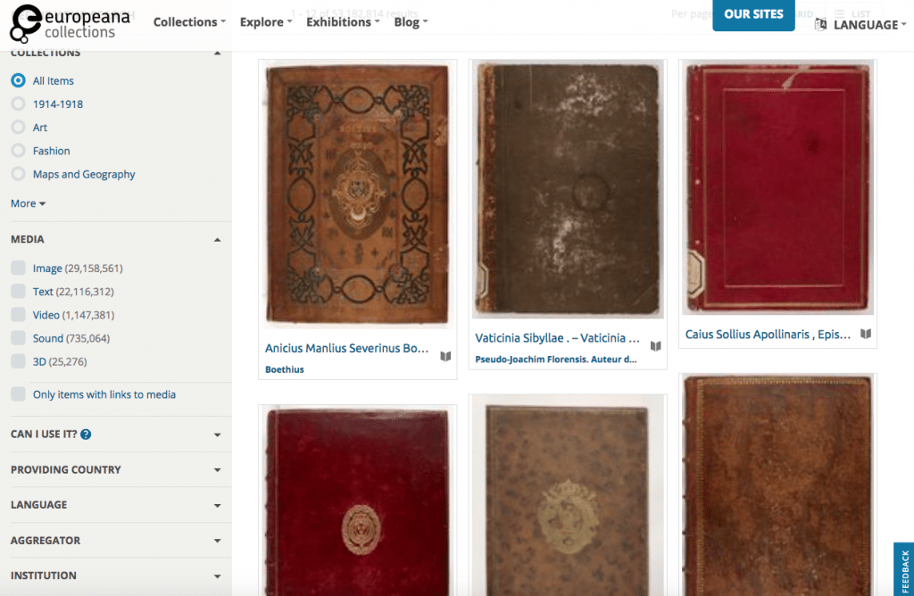 Ways to limit your results at Europeana OnGenealogy