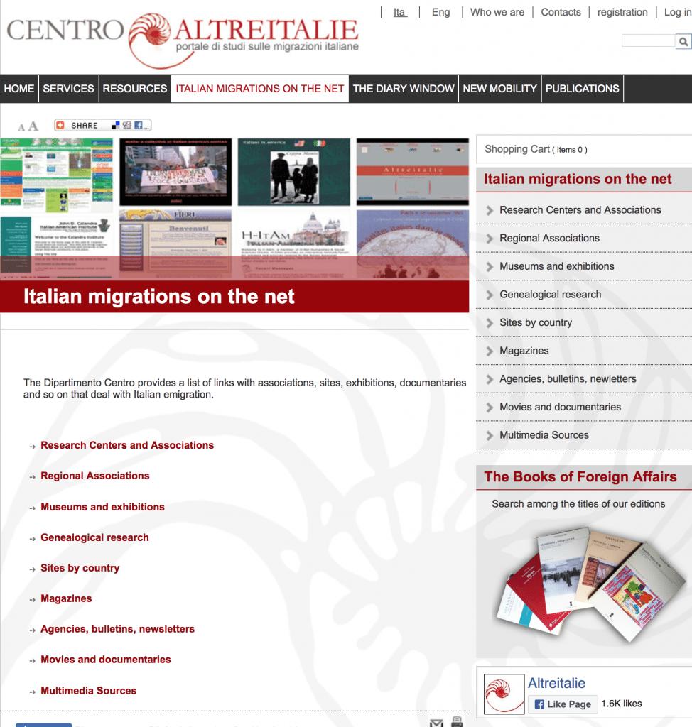 Centro Altreitalie Italian Migrations records and links OnGenealogy