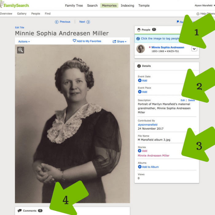 FamilySearch Memories options